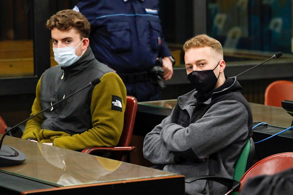 Gabriel Natale-Hjorth, left, and Finnegan Lee Elder, are pictured during a trial hearing in Rome,