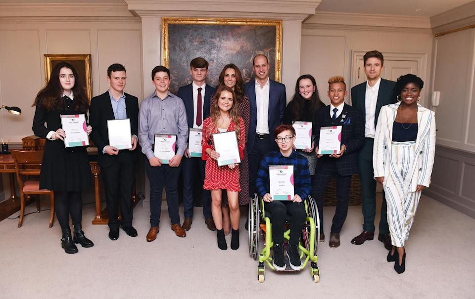 Duke and Duchess of Cambridge with the Teen Heroes of 2018 and BBC Radio 1 DJs Greg James and Clara Amfo (BBC/Sarah Jeynes)