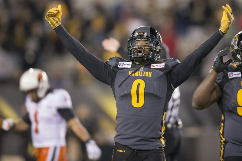 Rico Murray of the Hamilton Tiger-Cats celebrates the Tiger-Cats' 19-17 win over the B.C. Lions in their CFL football game at Tim Hortons Field in Hamilton