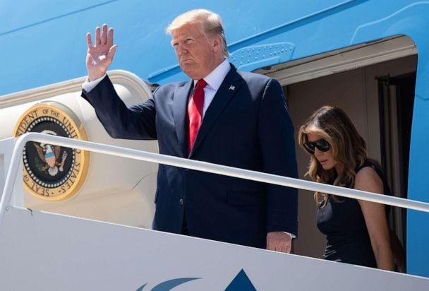 PHOTO: US President Donald Trump and First Lady Melania Trump disembark from Air Force One upon arrival at El Paso International Airport in El Paso, Texas, August 7, 2019. (Saul Loeb/AFP/Getty Images)