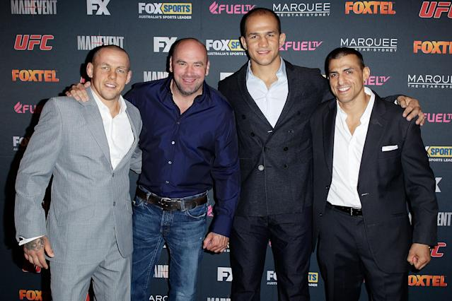 SYDNEY, AUSTRALIA - JULY 17: (L-R) Ross Pearson, Dana White, Junior dos Santos and George Sotiropoulos arrive at the TUF Australia Launch Party on July 17, 2012 in Sydney, Australia. (Photo by Brendon Thorne/Getty Images)