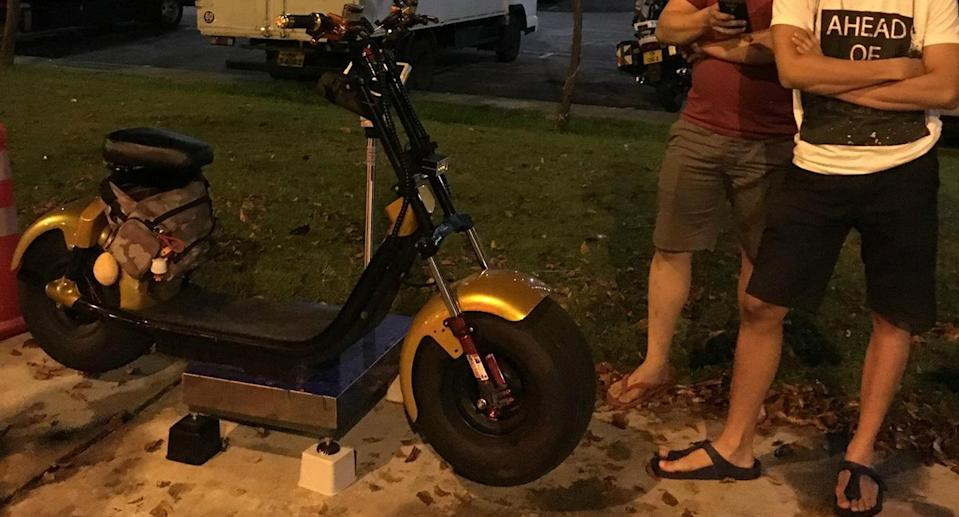 An e-scooter weighing over 64kg was seized during enforcement operations between 14-15 May. (Photo: Facebook/LTA)
