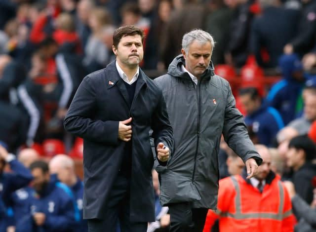Jose Mourinho (right) replaces the sacked Mauricio Pochettino (left) at Tottenham (Martin Rickett/PA)