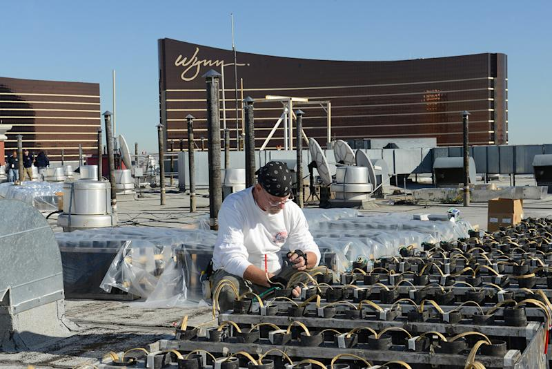 In this photo provided by the Las Vegas News Bureau, technicians from Fireworks by Grucci make preparations atop of the Treasure Island hotel for the Las Vegas New Year's Eve pyrotechnic extravaganza, Monday, Dec. 30, 2013 in Las Vegas, Nev. The program will launch more than 80,000 effects from the MGM Grand, Aria, Planet Hollywood, Caesars Palace, Treasure Island, The Venetian and Stratosphere. (Photo/Las Vegas News Bureau, Darrin Bush)