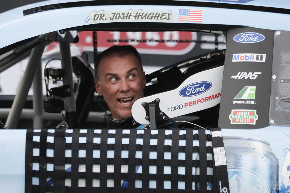 Kevin Harvick arrives in victory lane after winning the NASCAR Cup Series auto race Sunday, May 17, 2020, in Darlington, S.C. (AP Photo/Brynn Anderson)