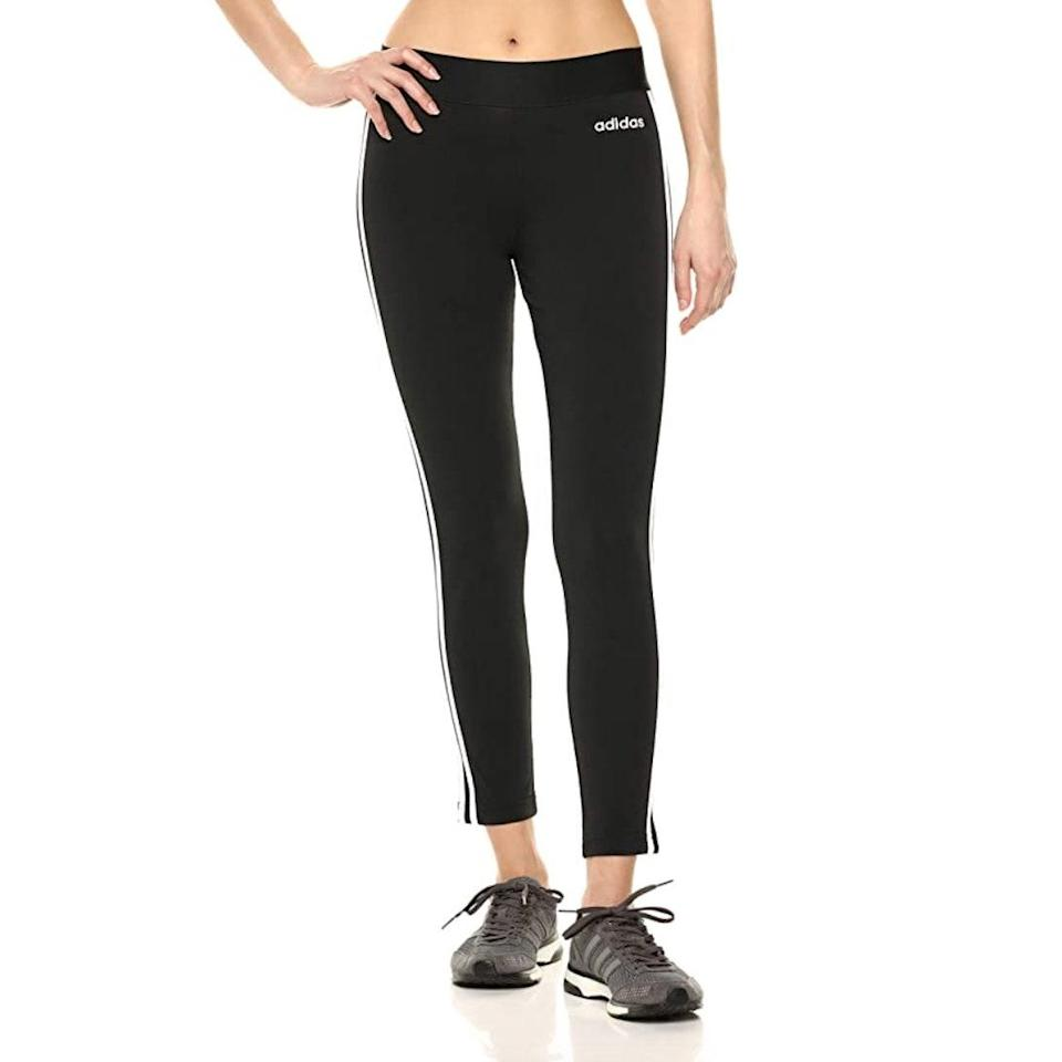 """These are nearly pants, but not quite. Either way, they're the perfect match for your go-to low-top sneakers. $35, Amazon. <a href=""""https://www.amazon.com/adidas-Essentials-3-Stripes-Tights-Medium/dp/B07DX2CGHP/ref=sr_1_16"""" rel=""""nofollow noopener"""" target=""""_blank"""" data-ylk=""""slk:Get it now!"""" class=""""link rapid-noclick-resp"""">Get it now!</a>"""