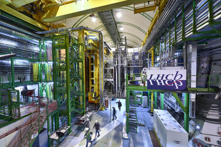 This 2018 photo made available by CERN shows the LHCb Muon system at the European Organization for Nuclear Research Large Hadron Collider facility outside of Geneva. Preliminary results published in 2021 of experiments from here and the Fermilab facility in the U.S. challenge the way physicists think the universe works, a prospect that has the field of particle physics both baffled and thrilled. (Maximilien Brice, Julien Marius Ordan/CERN via AP)