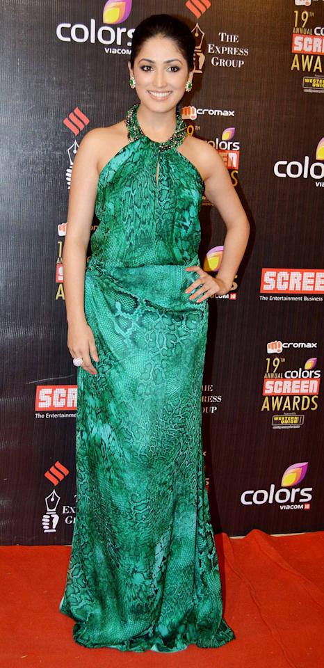 Newbie Yami Gautam took the green fascination to the next level in a animal print Carmen Marc Volvo gown.