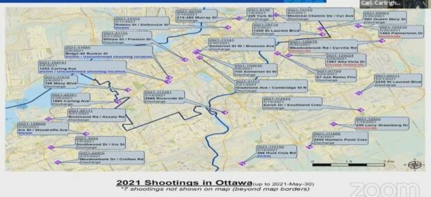 A map of 'shooting events' in Ottawa for the year 2021 up to May 30, presented at the Ottawa Police Services Board by Insp. Carl Cartwright.