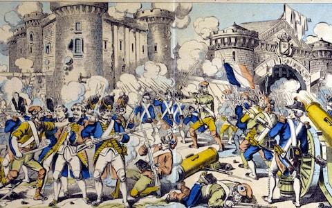 The storming of the Bastille on July 14, 1789 - Credit: Rex