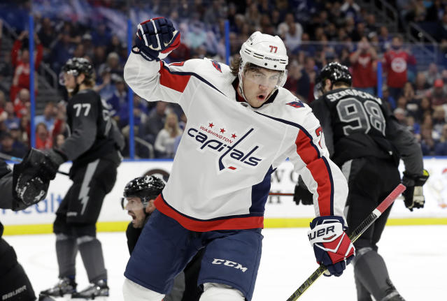 Washington Capitals right wing T.J. Oshie (77) celebrates his goal against the Tampa Bay Lightning during the first period of an NHL hockey game Saturday, March 30, 2019, in Tampa, Fla. (AP Photo/Chris O'Meara)