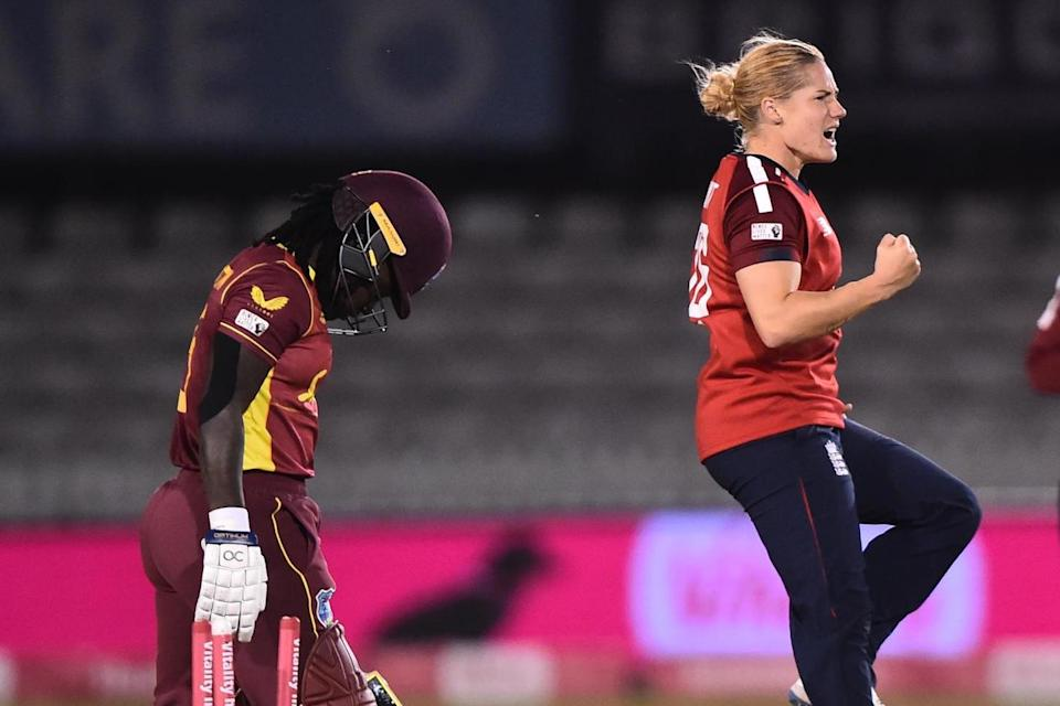 Katherine Brunt took the key wicket of Deandra Dottin in the first over of West Indies' chase in Derby (Getty Images)