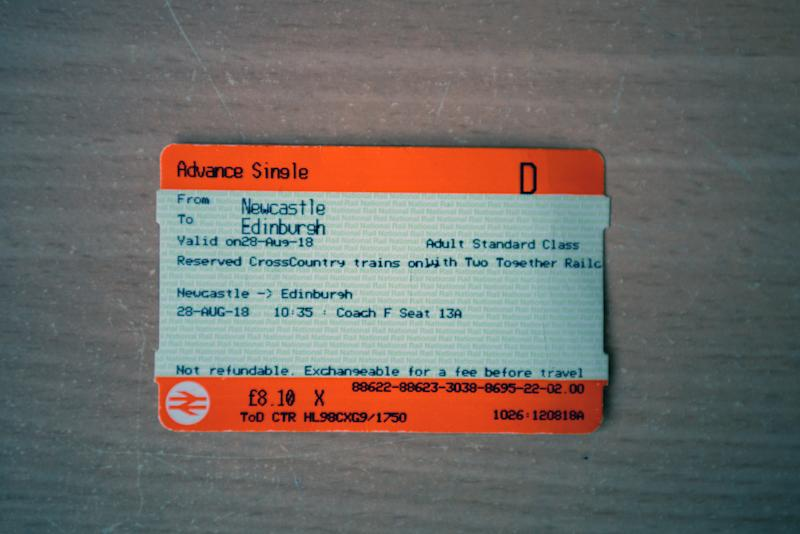 An advance single train ticket form Newcastle to Edinburgh.