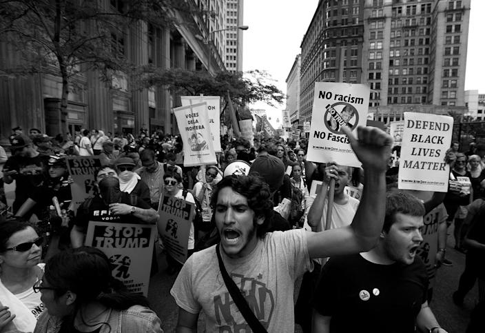 <p>Anti-Trump protesters march through the streets of Cleveland. (Photo: Khue Bui for Yahoo News)</p>