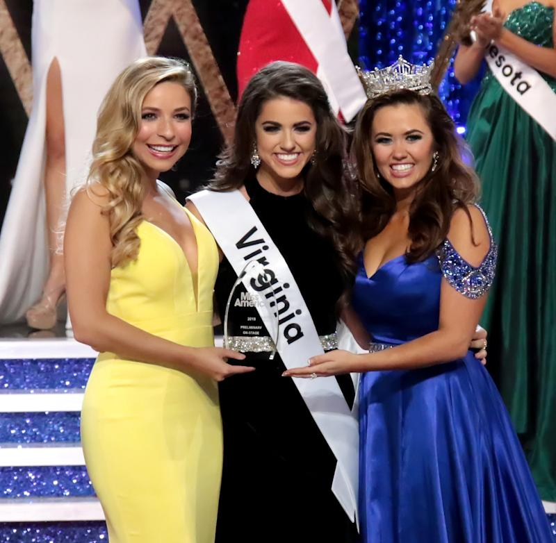 Miss Virginia, Emili McPhail, (middle) won the On Stage Question portion of the competition.