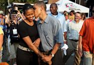 """<p><a href=""""https://www.obama.org/our-story/#promise-wedding-barack-michelle"""" rel=""""nofollow noopener"""" target=""""_blank"""" data-ylk=""""slk:According to Michelle"""" class=""""link rapid-noclick-resp"""">According to Michelle</a>, """"Barack didn't pledge riches, only a life that would be interesting. On that promise he delivered.""""</p>"""