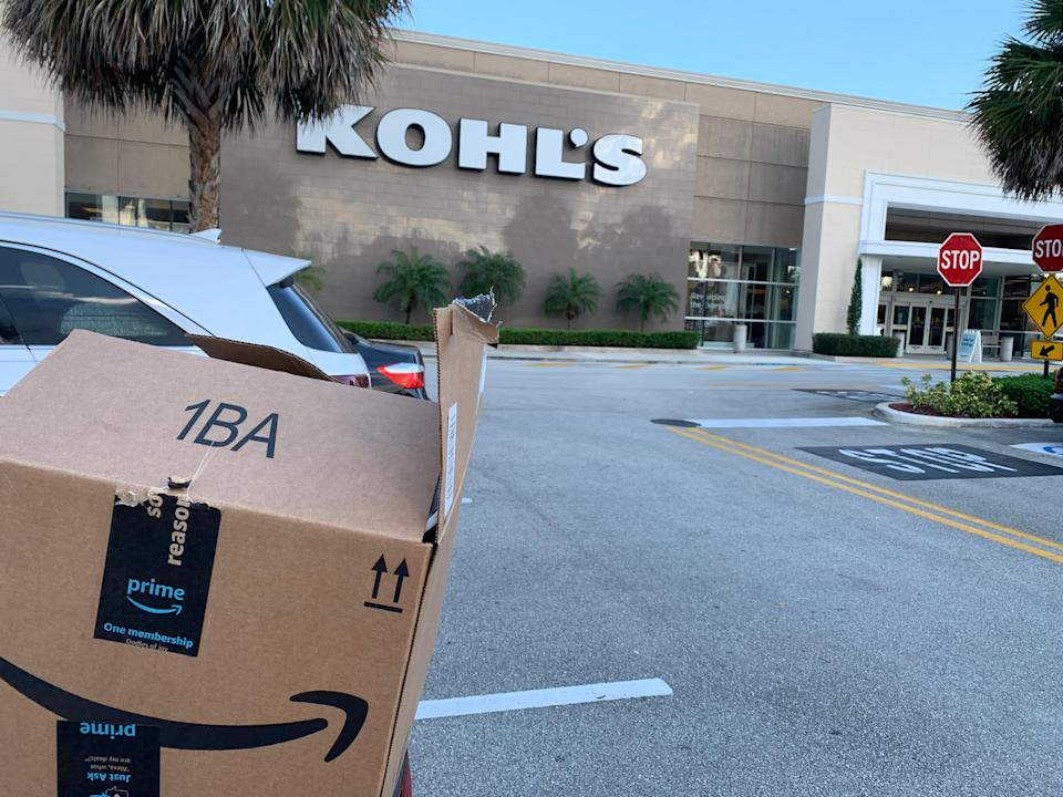 Kohl's stores accept Amazon returns, but no box is needed.