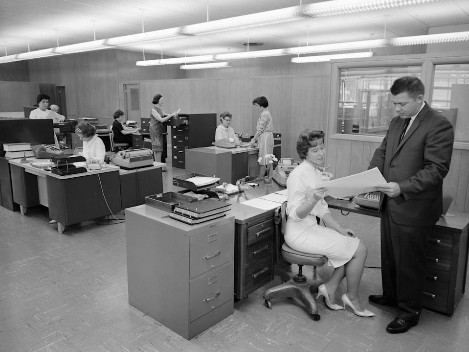 """<p>The modern workplace may bring to mind images of open floor plans, """"casual Fridays"""", and Slack messages... but corporate America didn't always look like this. Only a few decades ago, going to the office meant working out of a cubicle with cutting edge innovations such as typewriters, landline phones, and switchboards with operators directing calls. The advancement of technology and changes in work culture have truly transformed how we conduct business. Let's take a look at how office life has evolved through the years...</p>"""