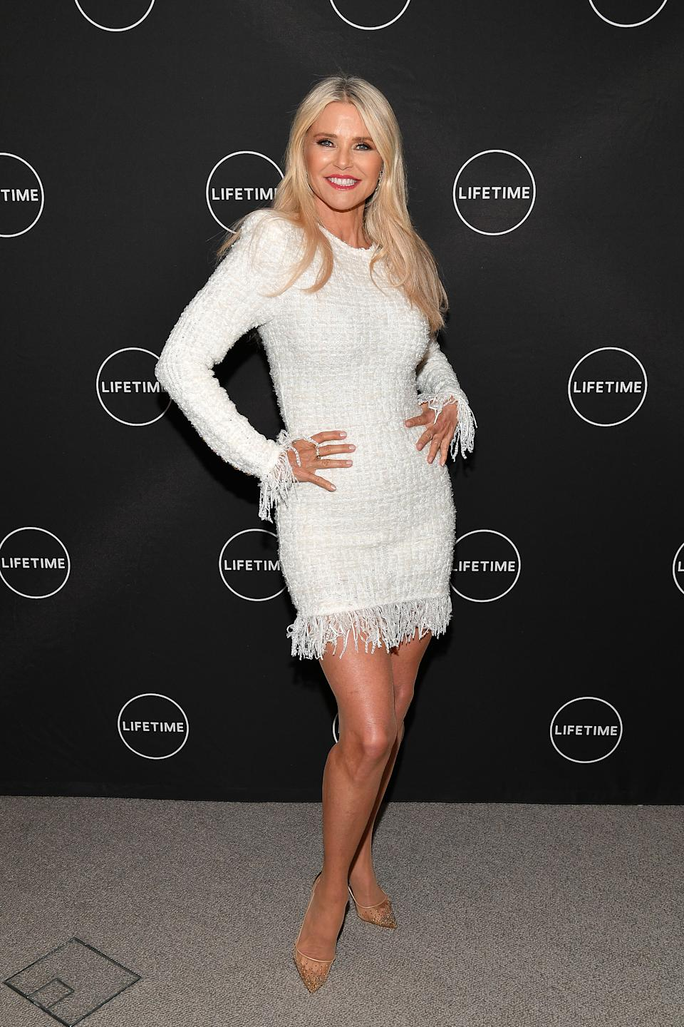 """Christie Brinkley attends Cocktails and a Conversation with the Stars of Lifetime's """"American Beauty Star"""" featuring host and executive producer Ashley Graham, mentor Sir John and judges Christie Brinkley and Leah Wyar on January 17, 2019 in New York City."""