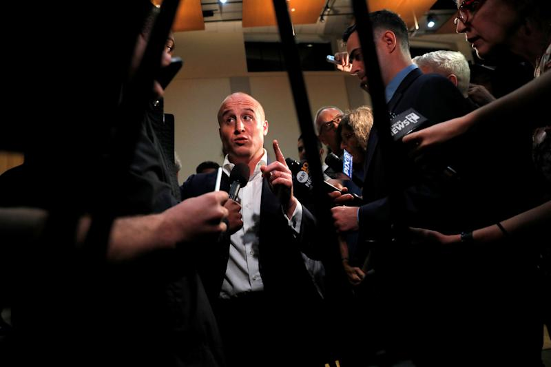 Rep. Max Rose (D-N.Y.) meets the press following a town hall where he announced his support for an impeachment inquiry into President Donald Trump. (Photo: Andrew Kelly / Reuters)
