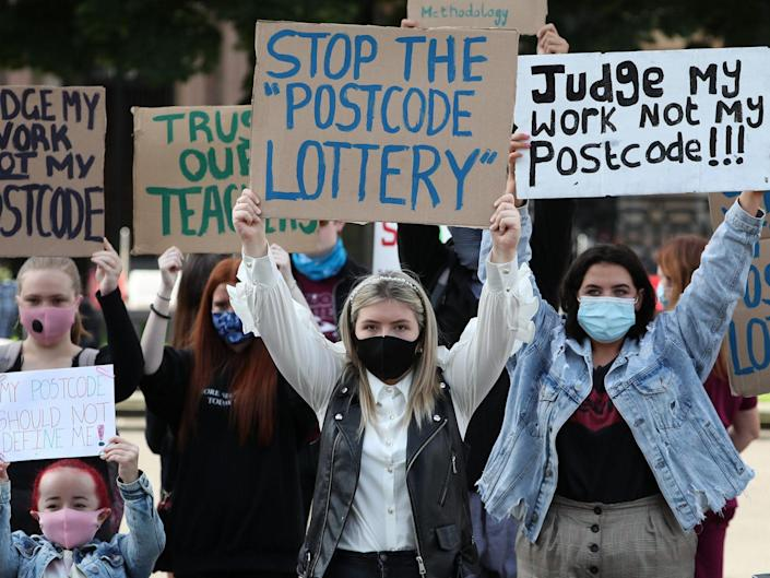 Erin Bleakley (centre) joins protesters in George Square in Glasgow to protest against the Scottish Qualifications Authority (SQA) method of producing exam results this year: Andrew Milligan/PA Wire