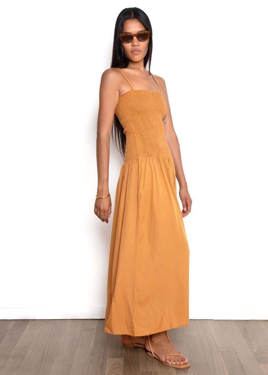 """Throw in a pair of leather slides, and you've got yourself the perfect out-the-door ensemble for the remainder of summer. <br> <br> <strong>Paloma Wool</strong> Benidorm Dress, $, available at <a href=""""https://go.skimresources.com/?id=30283X879131&url=https%3A%2F%2Fthefrankieshop.com%2Fcollections%2Fnew-arrivals%2Fproducts%2Fbenidorm-dress-by-paloma-wool-burnt-sienna"""" rel=""""nofollow noopener"""" target=""""_blank"""" data-ylk=""""slk:The Frankie Shop"""" class=""""link rapid-noclick-resp"""">The Frankie Shop</a>"""