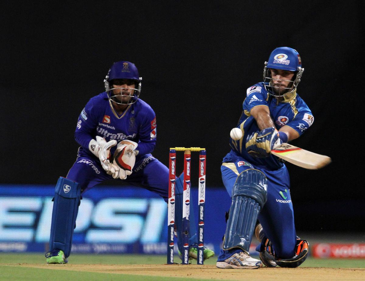 Mumbai Indian player Glenn Maxwell plays a shot during match 66 of the Pepsi Indian Premier League ( IPL) 2013  between The Mumbai Indians and the Rajasthan Royals held at the Wankhede Stadium in Mumbai on the 15th May 2013 ..Photo by Vipin Pawar-IPL-SPORTZPICS ..Use of this image is subject to the terms and conditions as outlined by the BCCI. These terms can be found by following this link:..https://ec.yimg.com/ec?url=http%3a%2f%2fwww.sportzpics.co.za%2fimage%2fI0000SoRagM2cIEc&t=1506215713&sig=uRD9q6Au4.Gzp2fXuhT6Xg--~D