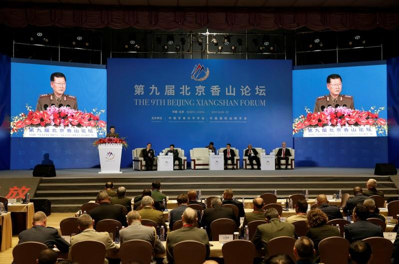 North Korea's Vice Minister of the People's Armed Forces Kim Hyong Ryong speaks at the Xiangshan Forum in Beijing