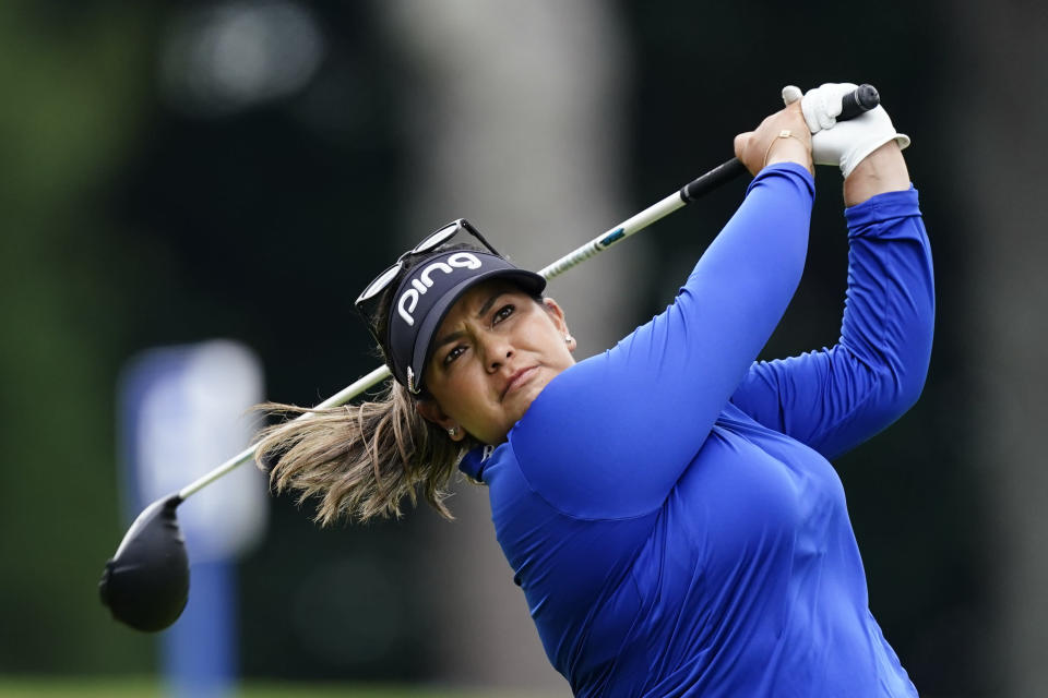 Lizette Salas of the U.S. tees off on the sixth hole during the third round of play in the KPMG Women's PGA Championship golf tournament Saturday, June 26, 2021, in Johns Creek, Ga. (AP Photo/John Bazemore)