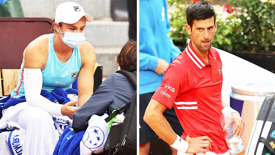 Ash Barty (pictured left) speaking to a trainer in Rome and Novak Djokovic (pictured right) looking angry while waiting for the chair umpire to make a decision.