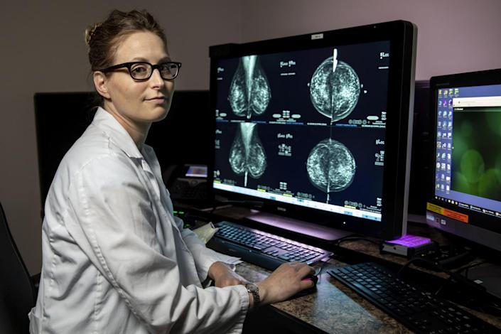 Dr. Hannah Milch at her workstation at UCLA.