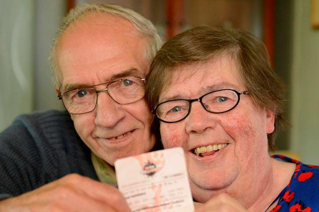 Former soldier Geordie and wife Betty Rhodick, from Lochgilphead, Argyllshire, Scotland, June 9, 2015, celebrating winning £1m on the lottery after wife Betty found their winning ticket in the bin. See SWNS story SWLOTTO; A couple have become millionaires after rescuing a winning lottery ticket - from a BIN. Former soldier Geordie Rhodick, 71, threw his Euromillions ticket in the waste after a quick check of his numbers revealed he had won nothing in the main draw. But his wife Betty, 63, fished it out and took it to their local shop - to be told they had struck it lucky in the Millionaire Maker raffle. After discovering he had landed a seven-figure windfall, the army veteran had no thoughts of immediately spending his fortune.