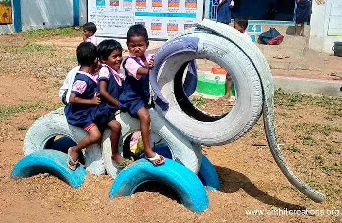 Anthill Creations builds low cost, sustainable playscapes by upcycling waste material like scrap tyres and oil drums.