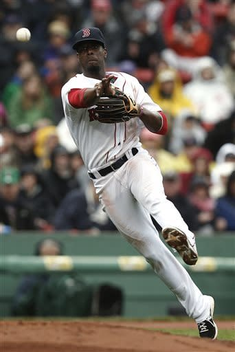 Boston Red Sox third baseman Pedro Ciriaco throws out Cleveland Indians' Mike Aviles during the third inning of a baseball game at Fenway Park in Boston Saturday, May 25, 2013. (AP Photo/Winslow Townson)