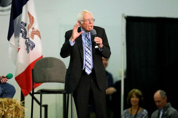 PHOTO: Sen. Bernie Sanders, I-Vt., speaks guests during the Finkenauer Fish Fry at the Hawkeye Downs Event Center on Nov. 2, 2019, in Cedar Rapids, Iowa. (Joshua Lott/Getty Images)