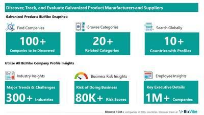 Snapshot of BizVibe's galvanized product supplier profiles and categories.