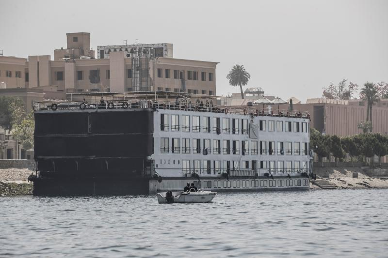 This picture taken on March 10, 2020 shows the A-Sara Nile cruise ship docked in Egypt's southern city of Luxor, where 45 suspected COVID-19 coronavirus disease cases were detected and evacuated two days earlier. - Just when Egypt's crucial tourism sector was recovering from years of political tumult and jihadist attacks, the industry finds itself bracing for a potential buffeting by the new coronavirus. (Photo by Khaled DESOUKI / AFP) (Photo by KHALED DESOUKI/AFP via Getty Images)
