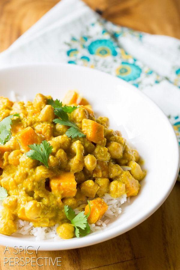 """<p>Vegetarians, dig into this plant-based dinner that relies on chickpeas and sweet potatoes for a filling main. Heads up: You'll need to stock up on <a href=""""https://www.amazon.com/Rani-Garam-Masala-Indian-Spice/dp/B00309S13Q?tag=syn-yahoo-20&ascsubtag=%5Bartid%7C10055.g.1364%5Bsrc%7Cyahoo-us"""" rel=""""nofollow noopener"""" target=""""_blank"""" data-ylk=""""slk:garam masala"""" class=""""link rapid-noclick-resp"""">garam masala</a> if you haven't added it to your <a href=""""https://www.google.com/search?q=site:www.goodhousekeeping.com+spice+drawer"""" rel=""""nofollow noopener"""" target=""""_blank"""" data-ylk=""""slk:spice rack"""" class=""""link rapid-noclick-resp"""">spice rack</a> already. </p><p><em><a href=""""https://www.aspicyperspective.com/chickpea-curry-in-the-slow-cooker/"""" rel=""""nofollow noopener"""" target=""""_blank"""" data-ylk=""""slk:Get the recipe from A Spicy Perspective »"""" class=""""link rapid-noclick-resp"""">Get the recipe from A Spicy Perspective »</a></em></p><p><strong>RELATED:</strong> <a href=""""https://www.goodhousekeeping.com/food-recipes/healthy/g807/vegan-recipes/"""" rel=""""nofollow noopener"""" target=""""_blank"""" data-ylk=""""slk:50+ Vegan Recipes That Your Whole Family Will Love"""" class=""""link rapid-noclick-resp"""">50+ Vegan Recipes That Your Whole Family Will Love</a><br></p>"""