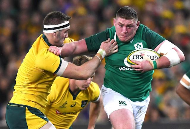 Rugby Union - June Internationals - Australia vs Ireland - Sydney Football Stadium, Sydney, Australia - June 23, 2018 - Tadhg Furlong of Ireland pushes away the tackle of Izack Rodda of Australia. AAP/David Moir/via REUTERS ATTENTION EDITORS - THIS IMAGE WAS PROVIDED BY A THIRD PARTY. NO RESALES. NO ARCHIVE. AUSTRALIA OUT. NEW ZEALAND OUT.