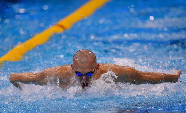 Hungary's Laszlo Cseh competes to win the men's 200m medley final of the 32nd LEN European Swimming Championships on August 20, 2014 in Berlin (AFP Photo/Tobias Schwarz)