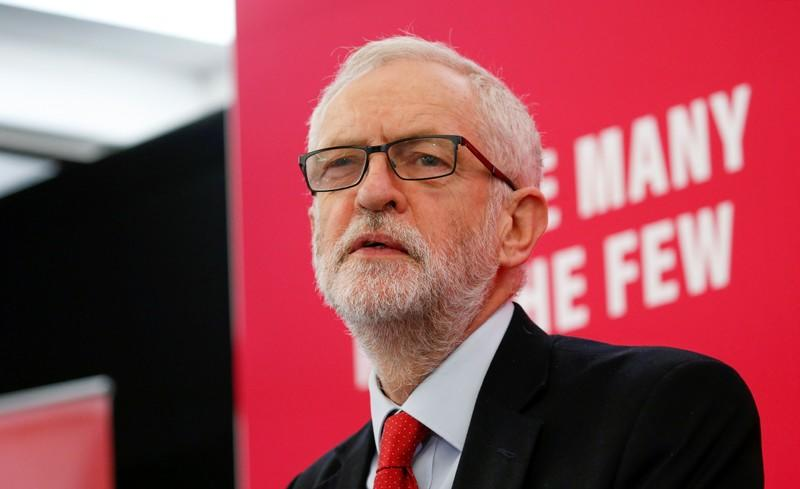 Britain's Labour Party leader Jeremy Corbyn speaks on new digital infrastructure policy in Lancaster