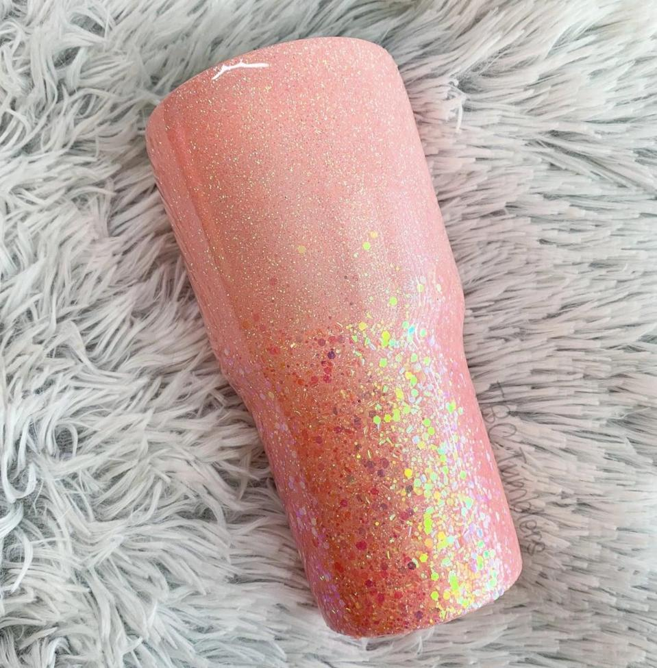 <p>They'll drink out of this shiny <span>TBCTumblers Peach Glitter Tumblerr</span> ($34 and up) every day.</p>