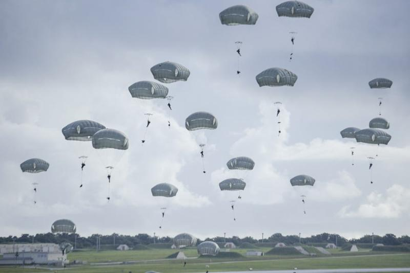 Paratroopers descend on Andersen Air Force Base in Guam
