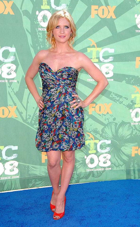 """Hairspray"" hottie Brittany Snow showed off her fit and fab figure in a cute and colorful cocktail dress. Steve Granitz/<a href=""http://www.wireimage.com"" target=""new"">WireImage.com</a> - August 3, 2008"