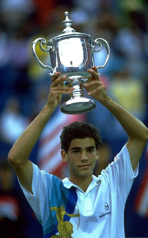 <span>First of many: Pete Sampras, 19, with his first US Open titl</span> <span>Credit: Allsport </span>