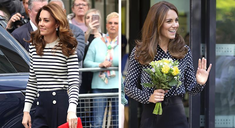 Kate Middleton's L.K. Bennett culottes are finally back in stock. (Getty)