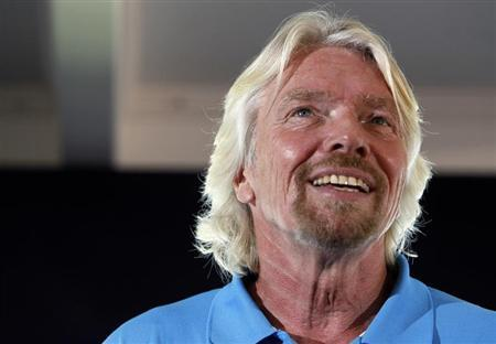 Sir Richard Branson announces plans to launch a solo piloted submarine at a news conference in Newport Beach