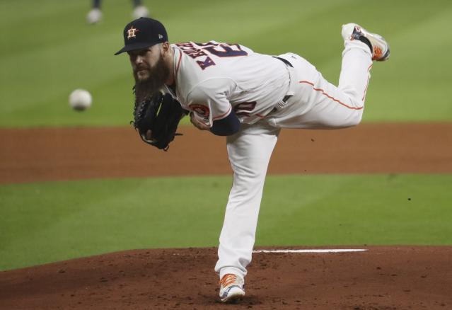 Houston Astros starting pitcher Dallas Keuchel throws during the first inning of Game 5 of baseball's World Series against the Los Angeles Dodgers Sunday, Oct. 29, 2017, in Houston. (AP)
