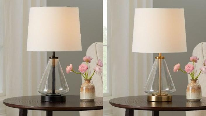 These affordable table lamps come in two finishes.