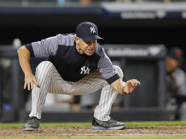 "<a class=""link rapid-noclick-resp"" href=""/mlb/teams/ny-yankees/"" data-ylk=""slk:Yankees"">Yankees</a> manager Aaron Boone was ejected for the fifth time this season. (Photo by Paul Bereswill/Getty Images)"
